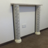 Fireplace with 'Velvet' faced side columns and 'Granite' side panels